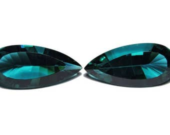 2 Pieces Very Beautiful Teal Green Quartz Concave Cut Pear Loose Gemstone Size 26X12 MM