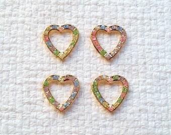 """Vintage Swarovski Rhinestone Hearts - 5/8 x 5/8""""                                                                         04/18"""