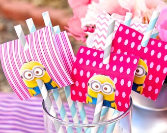 Custom Listing Pink Girl's Despicable Me Minions Birthday Party Pack - FULLY ASSEMBLED