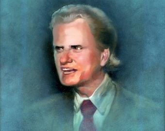 Larger Canvas Print / Young Billy Graham With Tiny Microphone Pancake