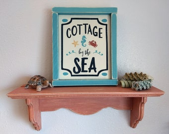 Hand Painted Wood Beach Sign Cottage by the Sea