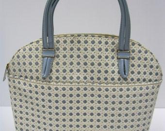 BLUE and WHITE TRELLIS Plastic Handbag - wicker, Lattice or Trellis Purse