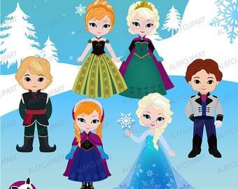 Princesa de nieve gráfico Digital Clipart, princesa de la nieve, princesa imágenes prediseñadas imágenes prediseñadas