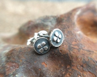 Small Sterling Silver Studs - 5mm Four Leaf Clover / Shamrock Everyday Earrings - Unique Handmade Metalwork Jewelry Gifts for Her