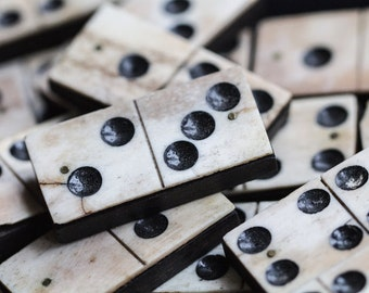 Games Photography - Vintage Dominoes Print - Lucky Number Five