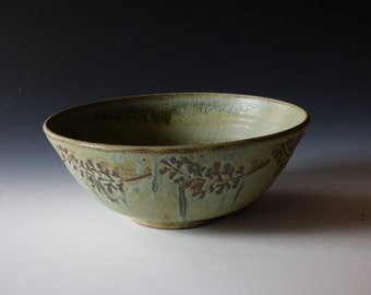 verdigris green fern bowl
