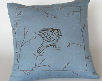 SALE Owl Block Print Cushion Pillow