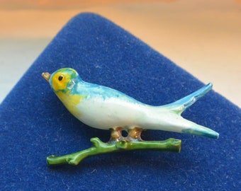 Robert Bird Brooch - Enameled Blue Bird, Signed Original by Robert - Free US Shipping - Vintage - Fabulous!
