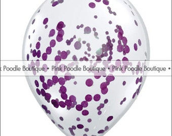 """12"""" CONFETTI FILLED Clear BALLOONS (1 pc) -- Circles or Hearts -- Dark/Eggplant Purple, Plum, Lavender, Lilac/Pastel Purple -- pif.aok"""