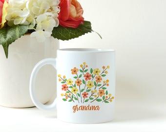 Mothers Day Gift, Grandmother Gift.  Floral Mom Gift, Gift for Mom, First Time Mom Gift, Custom Mug, Personalized Mug, Coffee Mug, Tea Cup