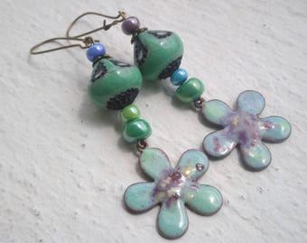 Multicoloris - enameled copper and ceramic Flower Earrings