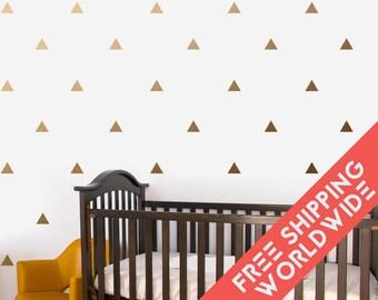 Metallic Gold Triangles Wall Decals Decor Stickers Nursery Baby Boy Girl Modern & Scandinavian - Sets of 25