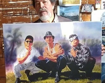 """Vatos Locos Forever  .Giclee on canvas 20"""" by 30"""" embellished and signed by the original artist Adan Hernandez"""
