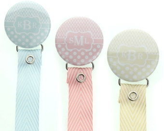 Monogram pacifier holder, personalized name pacifier clip, Custom Baby Gift (96,97,98) (MSRP 19.00)