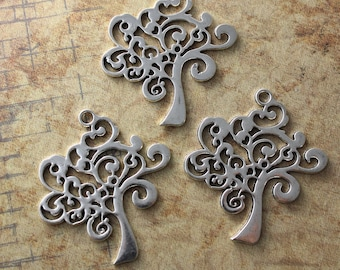 5 Tree  Charms Tree Branch Pendants Antiqued Silver Tone Double Sided 37 x 37 mm