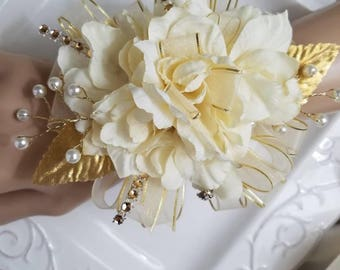 Ivory White And Gold Prom Corsage And Boutonniere Set See
