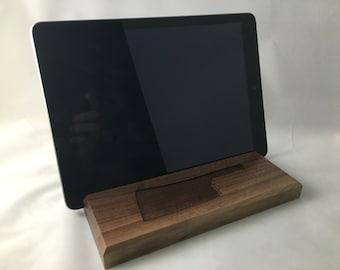 iPad Stand / Docking Station / Tablet Stand / Black Walnut/Customizable