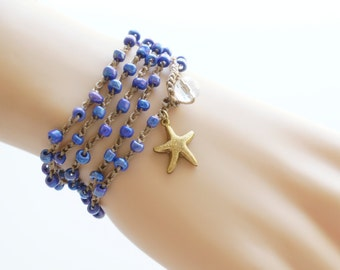 Starfish Crochet Wrap Bracelet Starfish Beach Bracelet Friendship Bracelet Beaded Crochet Necklace Crochet Bracelet Boho Bohemian Gift