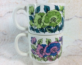 Pair of Colorful Floral Stacking Mugs Japan Green Purple Pink