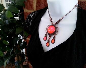Victorian Necklace, Handmade Glass Opal, Opalite Neon Orange, Filigree Art Nouveau Pendant, Renaissance Necklace, Color-Shift