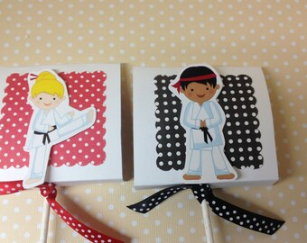 Girl and Boy Karate Martial Arts Party Lollipop Favors - Set of 10