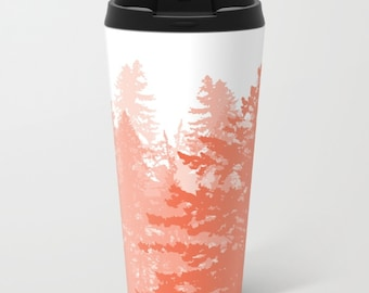 Trees Metal Travel Mug - Stainless Steel Travel Mug With Lid - Gift For Women - Coworker Gift - Woodland Trees Travel Mug - Aldari Home