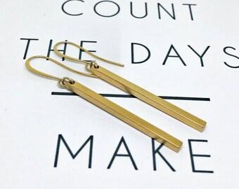 Gold bar earrings, Gold bar dangling earrings, Long dandling earrings, Gold long earrings, Bar earrings, Gold bar earrings, Christmas gift