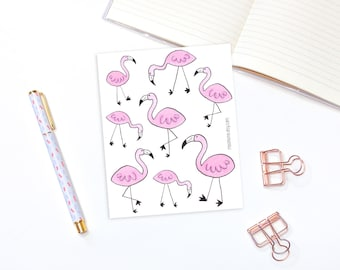Pink flamingo stickers - 8 decorative planner stickers, bullet journal stickers, animal stickers, bird stickers, cute stickers, bujo sticker