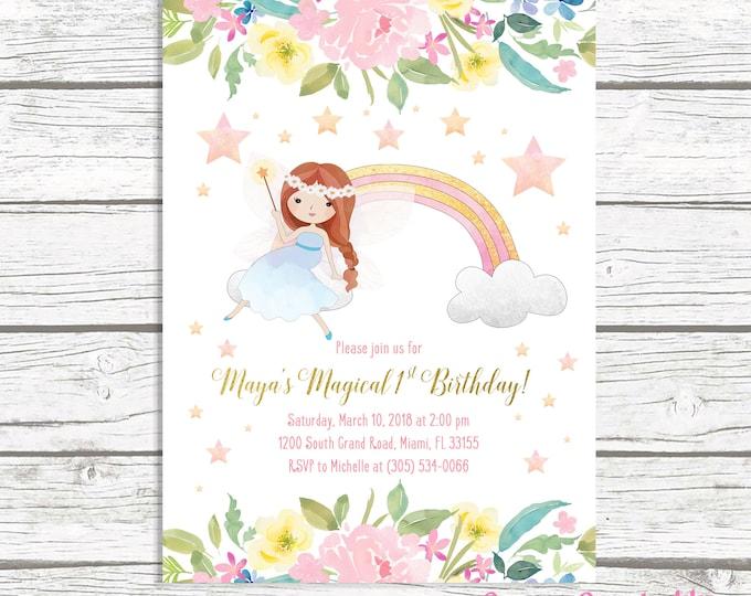 Fairy Invitation, Fairy Birthday Invitation, Floral Fairy Invitation, Fairy Theme Birthday, Pink and Gold, First 1st Birthday Invitation