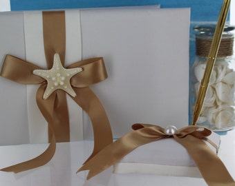 Starfish Guest Book and Pen Set/ Beach Theme