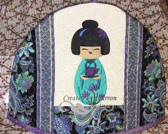 Japanese Kokeshi Doll -- Embroidered and Insulated Tea Cozy