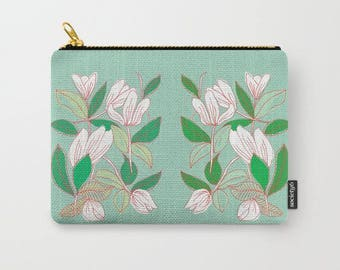 artist designed fabric carry-all pouch-floral design-mint green-white-purse organizer-phone holder-make-up bag-pencil case-toiletries bag