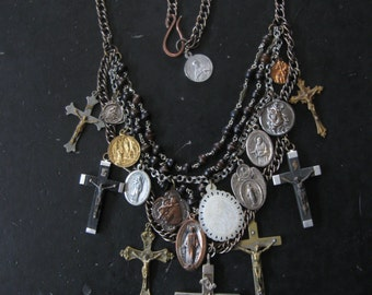 Sale - Saint Medallion Statement Necklace with Upcycled Rosary and Antique Catholic Medals and Crucifixes