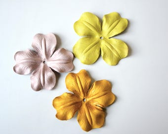 Poppy leather flower set of 9 pcs