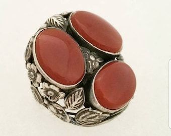 Vintage Sterling Carnelian Ring with Silver Flower Setting, Semi Precious Stone Large Statement Ring