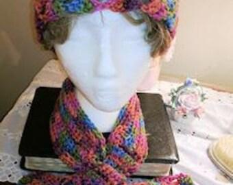 Neck Warmer and Hat Set, Raspberry Swirl