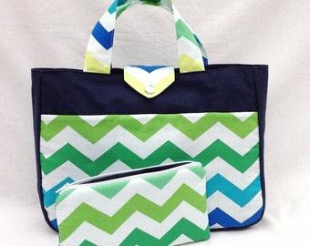 Chevron knitting bag. Blue and green knitting bag. Chevron knitting tote bag. Project holder. Project tote. Chevron craft tote.  Craft bag