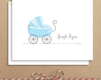 Blue Carriage Baby Note Cards - Baby Shower Thank You - Baby Thank You Notes - Illustrated Note Cards