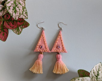 Hand Made & Dyed Textile Tassel Drop Earrings