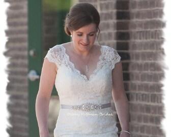 Silver Wedding Dress Sash, Rhinestone Crystal Pearl Bridal Belt, Pearl Vintage Style Bridal Sash, Pearl Jeweled Wedding Belt, No 4060S