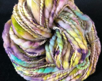 Handspun, bulky, thick and thin art yarn. Multicolored art yarn.