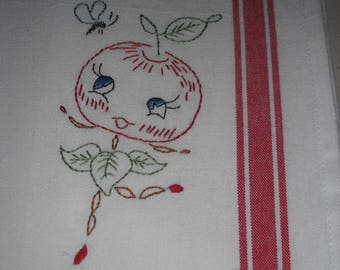 Vintage Style Hand Embroidered Tea Towel- Kitchen Towel - Retro 1950s