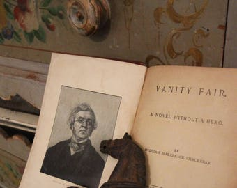 Antique Book - Vanity Fair by William Makepeace Thackeray - Christmas Gift 1895 -Marbleized Hard Cover