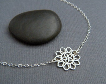 """silver flower necklace simple silver necklace sterling simple modern filigree pointed petal nature delicate everyday dainty jewelry 1/2"""""""