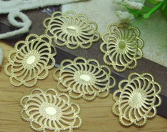 10pcs Golden Plated Oval Flower Filigree,18x25 mm