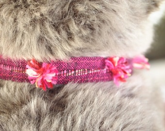 Rose Pom Poms Breakaway Cat Collar-NEW