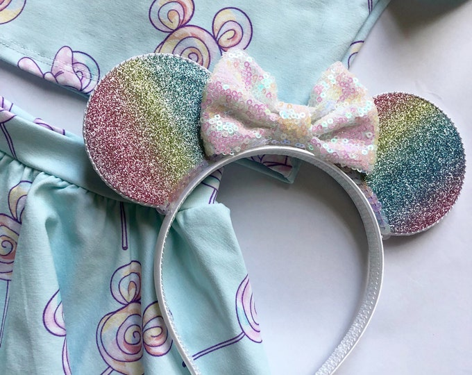 Glittery Rainbow Ombre Minnie Mouse Ears Headband || Minnie Mouse Birthday || Minnie Mouse Headband || Minnie Ears
