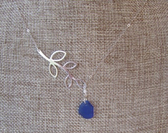 Sterling Silver Leaf Lariat Necklace with Real Sea Glass in Cobalt Blue or Dark Aqua, Beach Lover Necklace,  Ocean, Nautical Necklace, Gift