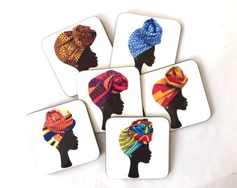 Head wrap coasters, African coasters, fridge magnet, head wrap magnets, drinks mat, drinkware, birthday gift for her, UK free shipping