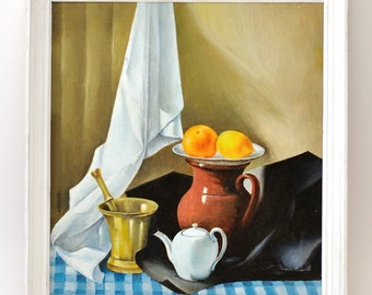 Vintage Still Life Oil Painting, Mortar and Pestle, Pitcher, Lemon, Tea towel, Teapot